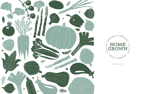 Cartoon hand drawn vegetables design template. Food background. Linocut style. Healthy food. Vector illustration