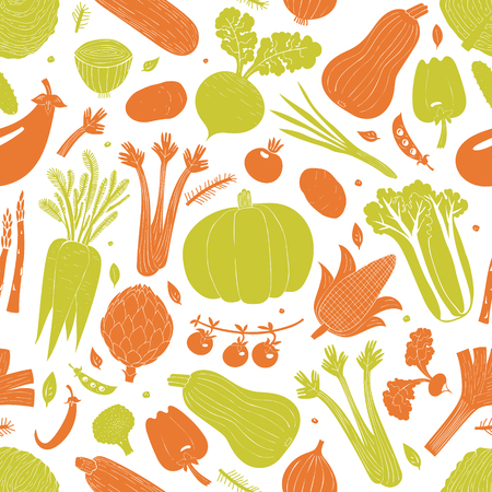 Cartoon hand drawn vegetables seamless pattern. Food background. Linocut style. Healthy food. Vector illustration