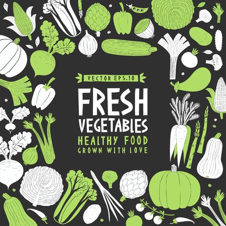 Cartoon hand drawn vegetables design template. Food background. Linocut style. Healthy food. Vector illustration on dark background