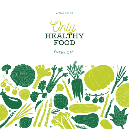 Cartoon hand drawn vegetables design template. Food background. Linocut style. Healthy food. Vector illustration