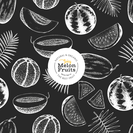 Melons and watermelons with tropical leaves seamless pattern. Hand drawn vector exotic fruit illustration on chalk board. Engraved style fruit banner. Vintage botanical backdrop