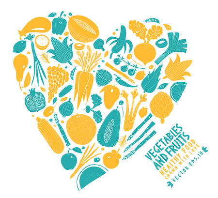 Vector vegetables and fruits arranged in the shape of a heart design template. Food background. Linocut style. Healthy food.