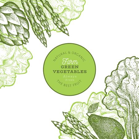 Green vegetable design template. Hand drawn vector food illustration. Engraved style vegetable frame. Vintage botanical banner.