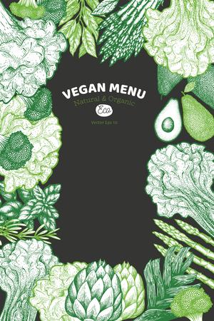 Green vegetable design template. Hand drawn vector food illustration on chalk background. Engraved style vegetable frame. Vintage botanical banner. Stock Photo