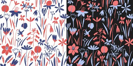 Spring flowers seamless vector pattern. Scandinavian style print. Hand drawn illustrations. Botanical background. Stock Photo