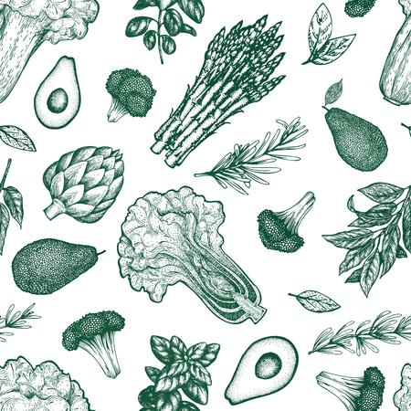 Green vegetable seamless pattern. Hand drawn vector food illustration. Engraved style vegetable frame. Vintage botanical banner.