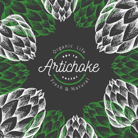Artichoke vegetable design template. Hand drawn vector food illustration on chalk board. Engraved style vegetable frame. Vintage botanical banner.