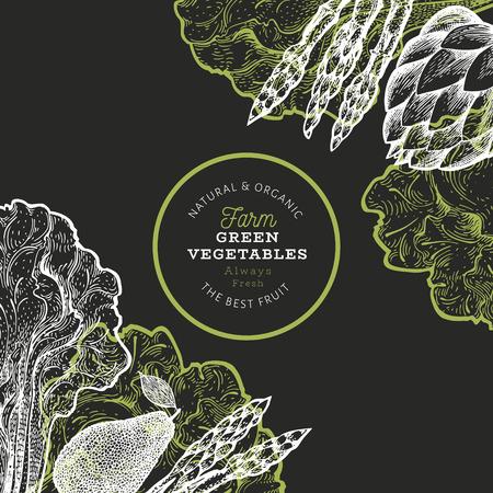 Green vegetable design template. Hand drawn vector food illustration on chalk board. Engraved style vegetable frame. Vintage botanical banner.