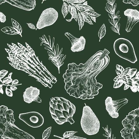 Green vegetable seamless pattern. Hand drawn vector food illustration on chalk board. Engraved style vegetable frame. Vintage botanical banner. Stock Photo