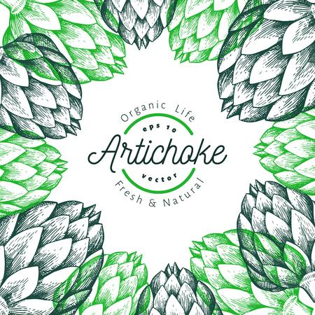 Artichoke vegetable design template. Hand drawn vector food illustration. Engraved style vegetable frame. Vintage botanical banner. Stock Photo