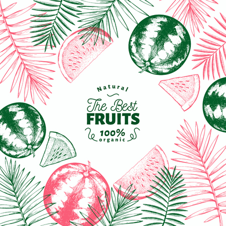Watermelon and tropical leaves design template. Hand drawn vector exotic fruit illustration. Engraved style fruit frame. Vintage botanical banner.