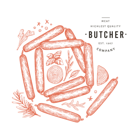 Retro vector meat illustration. Hand drawn sausages, spices and herbs. Raw food ingredients. Vintage sketch. Can be use for label, restaurant menu.