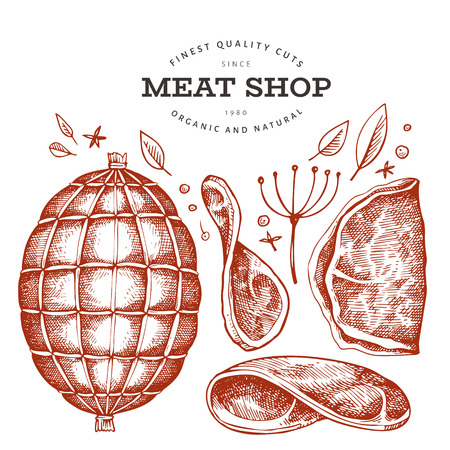 Retro vector meat illustration. Hand drawn ham, ham slices, spices and herbs. Raw food ingredients. Vintage sketch. Can be use for label, restaurant menu.