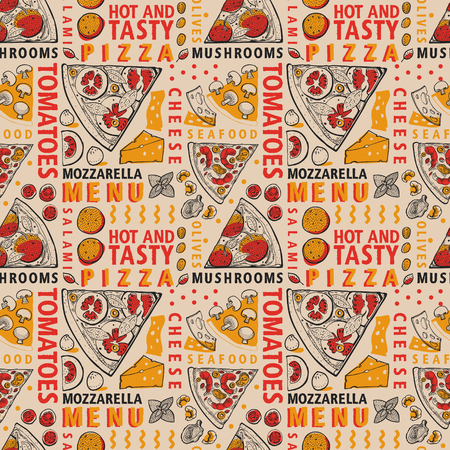 Typographic vector pizza and ingredients seamless pattern. Italian food design template. Hand drawn vector illustration on craft background. Can be use for menu or packaging. Illustration