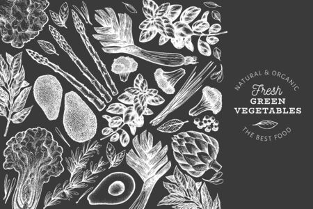 Green vegetable design template. Hand drawn vector food illustration on chalk board. Engraved style vegetable frame. Vintage botanical banner.