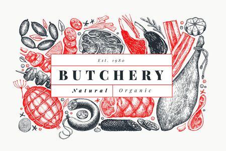 Modèle de conception de produits de viande de vecteur rétro. Jambon dessiné à la main, saucisses, jamon, épices et herbes. Ingrédients alimentaires crus. Illustration vintage. Peut être utilisé pour l'étiquette, le menu du restaurant.