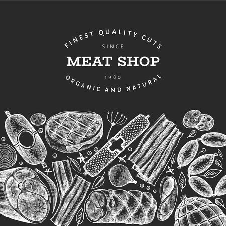 Retro vector meat products design template. Hand drawn ham, sausages, jamon, spices and herbs. Raw food ingredients. Vintage illustration on chalk board. Can be use for label, restaurant menu.