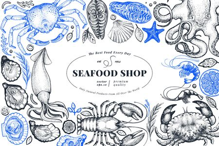 Seafood shop hand drawn vector banner template. Vintage style Vetores