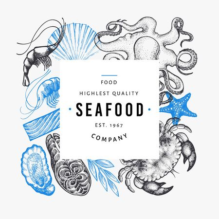 Seafood and fish design template. Hand drawn vector illustration. Vintage food banner. 일러스트