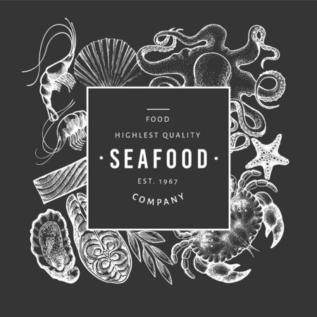 Seafood and fish design template. Hand drawn vector illustration on chalk board. Vintage food banner. 일러스트