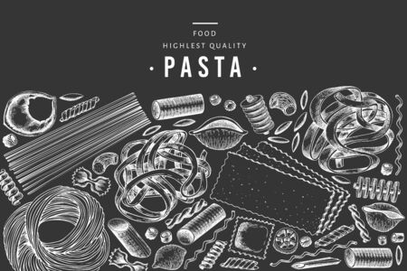 Italian pasta design template. Hand drawn vector food illustration on chalk board. Engraved style. Retro pasta different kinds background.