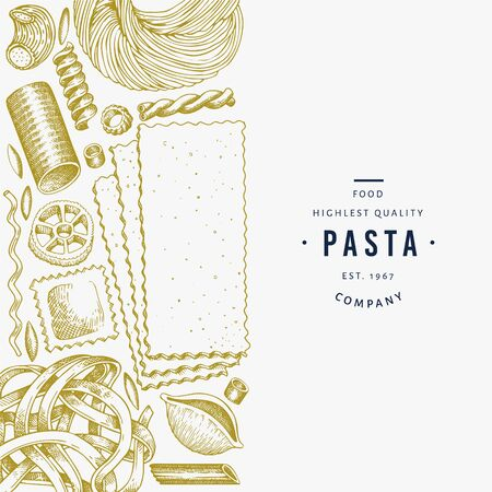 Italian pasta design template. Hand drawn vector food illustration. Engraved style. Retro pasta different kinds background. Reklamní fotografie - 130103600