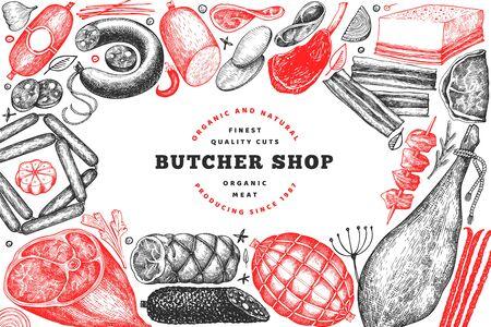 Butcher shop hand drawn vector banner template. Vintage style Stok Fotoğraf