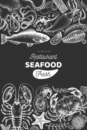 Seafood and fish design template. Hand drawn vector illustration on chalk board. Food banner. Can be used for design menu, packaging, recipes, label, fish market, seafood products.