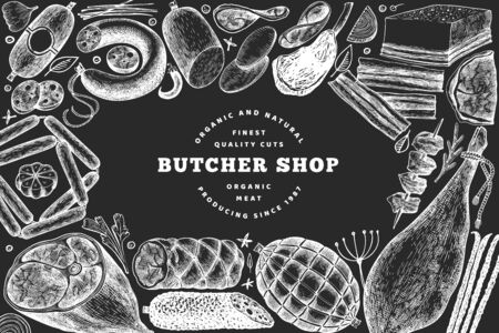 Butcher shop hand drawn vector banner template. Vintage style illustration on chalk board Stok Fotoğraf