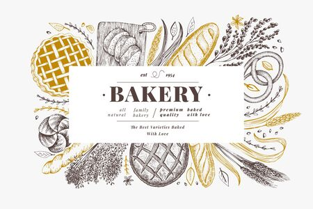 Bread and pastry banner. Vector bakery hand drawn illustration. Retro design template. Иллюстрация