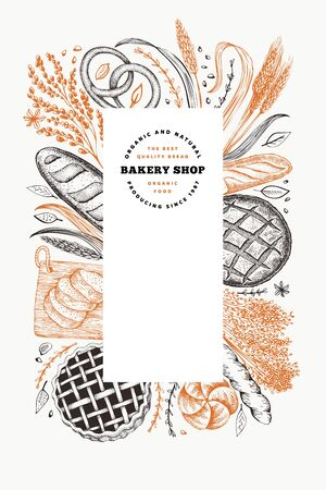 Bread and pastry banner. Vector bakery hand drawn illustration. Retro design template. Фото со стока