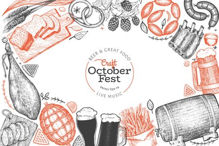 Octoberfest design template. Vector hand drawn illustrations. Greeting Beer festival card in vintage style. Autumn background.