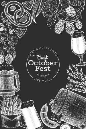 Octoberfest design template. Vector hand drawn illustrations on chalk board. Greeting Beer festival card in vintage style. Autumn background.