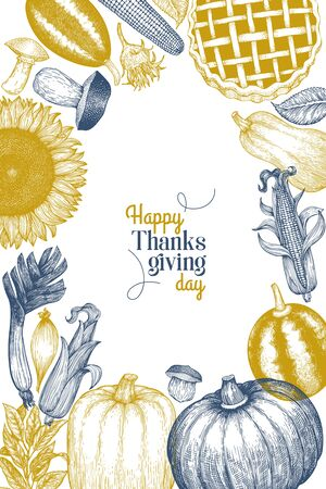 Happy Thanksgiving Day design template. Vector hand drawn illustrations. Greeting Thanksgiving card in vintage style. Banner with harvest, vegetables, pastry, bakery. Autumn background. Ilustração