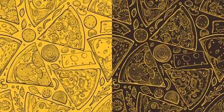 Pizza slices seamless pattern. Hand drawn vector Italian food illustration. Engraved style vintage food background. Retro fast food banner.