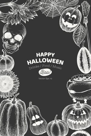 Halloween banner template. Vector hand drawn illustrations on chalk board. Design with pumpkins, skull, cauldron and sunflower vintage style. Autumn background