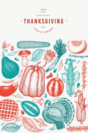 Happy Thanksgiving Day banner. Vector hand drawn illustrations. Greeting Thanksgiving design template in vintage style. Stok Fotoğraf - 130103850