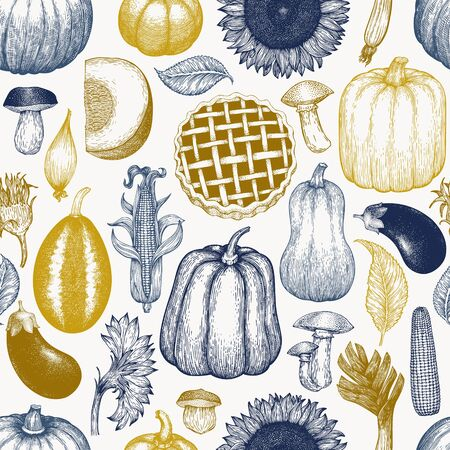 Happy Thanksgiving Day seamless pattern. Vector hand drawn illustrations. Thanksgiving backdrop in vintage style. Autumn background.