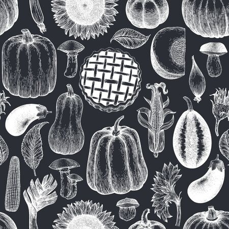 Autumn season food seamless pattern. Hand drawn thanksgiving day background. Retro food illustrations on chalk board Ilustração