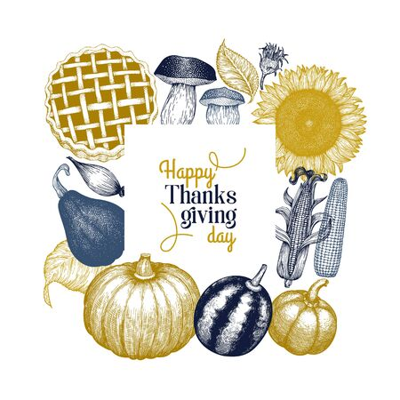 Happy Thanksgiving Day design template. Vector hand drawn illustrations. Greeting Thanksgiving card in vintage style.