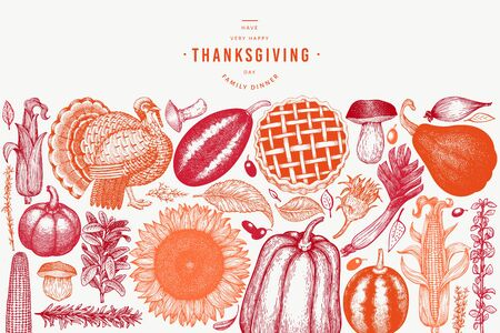 Happy Thanksgiving Day banner. Vector hand drawn illustrations. Greeting Thanksgiving design template in vintage style. Ilustração