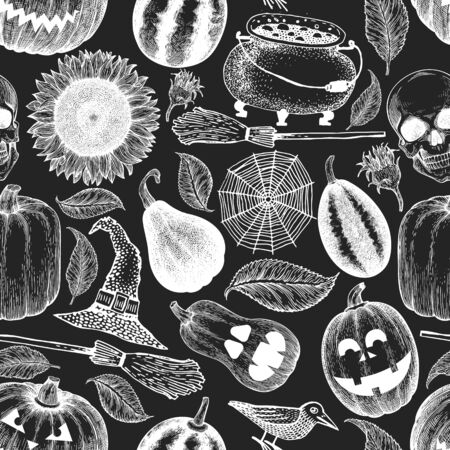 Halloween seamless pattern. Vector hand drawn illustrations on chalk board. Design with pumpkins, scull, cauldron and sunflower vintage style. Autumn background. Ilustração