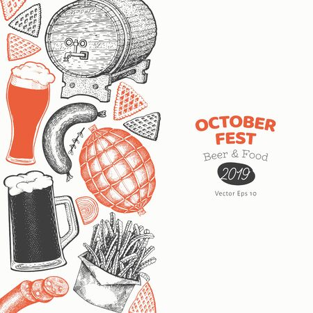 Octoberfest banner template. Vector hand drawn illustrations. Greeting Beer festival design in vintage style. Autumn background.