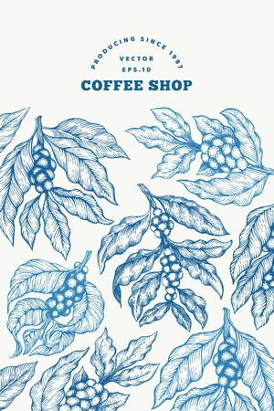 Coffee tree branch vector illustration. Retro coffee background. Hand drawn engraved style illustration.