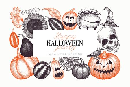 Halloween banner template. Vector hand drawn illustrations. Design with pumpkins, skull, cauldron and sunflower vintage style. Autumn background Stok Fotoğraf - 130104232