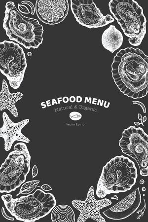 Oysters and spices design template. Hand drawn vector illustration on chalk board. Seafood banner. Can be used for design menu, packaging, recipes, fish market, seafood products.
