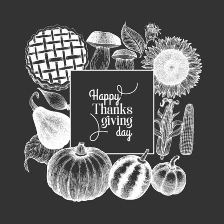 Happy Thanksgiving Day design template. Vector hand drawn illustrations on chalk board. Greeting Thanksgiving card in vintage style. Ilustração