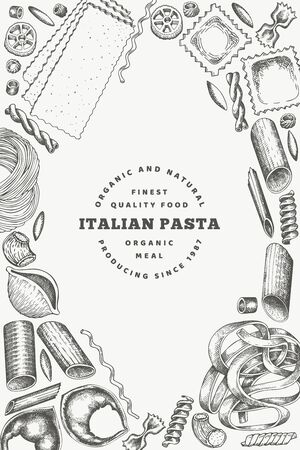 Italian pasta design template. Hand drawn vector food illustration. Engraved style. Retro pasta different kinds background. Stockfoto - 130104693