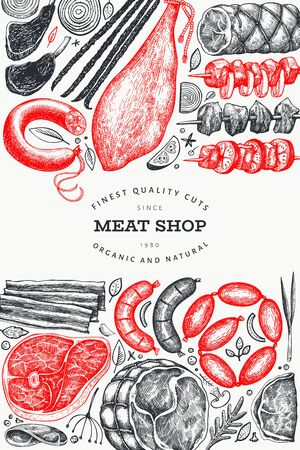Retro vector meat products design template. Hand drawn ham, sausages, jamon, steaks, spices and herbs. Raw food ingredients. Vintage illustration. Can be use for label, restaurant menu. Иллюстрация