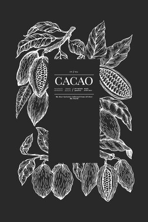 Cocoa banner template. Chocolate cocoa beans background. Vector hand drawn illustration on chalk board. Retro style illustration. Vetores